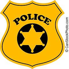 警察, 矢量, 徽章, 官員像