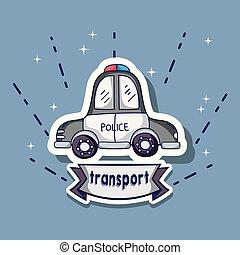 警察, 補丁, 汽車, 元素, 設計, 運輸