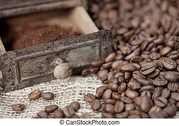 豆, 咖啡磨工, 細節, 老