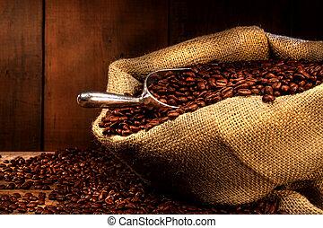 豆, 咖啡, 粗麻布 大袋