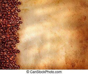 豆, 咖啡, 紙, 老, 羊皮紙