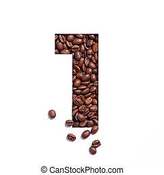 豆, 首先, 一, 數字, 做, 咖啡, 數字, 形狀, 被隔离, 切口紙, 白色