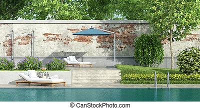 豪華, 池, 花園