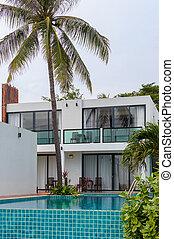 豪華, 游泳, 房子, 池, 現代