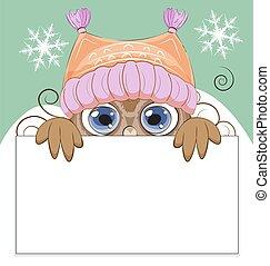 貓頭鷹, 帽子, 冬天, 框架