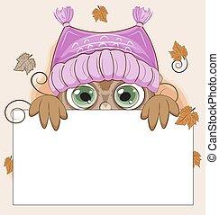 貓頭鷹, 帽子, 框架, 秋天