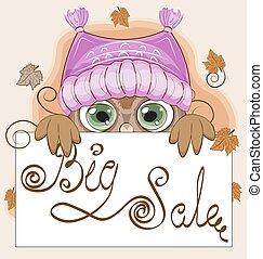 貓頭鷹, 框架, 帽子, 秋天, 銷售, 大