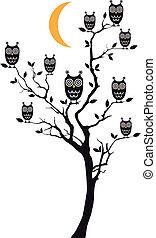 貓頭鷹, 樹, 矢量, 坐