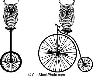 貓頭鷹, 自行車, 矢量, 老