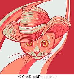 貓, 帽子, 插圖, 矢量