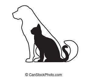 貓, 狗, 黑色, 白色