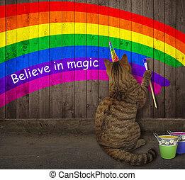 貓, 獨角獸, 彩虹, 畫
