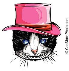 貓, 矢量, 肖像, 帽子, 動物, 高