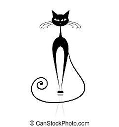 貓, 黑色, 你, 設計, 黑色半面畫像
