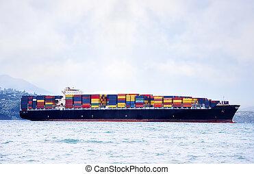 貨物, 鮮艷, 大, 發貨, 水, 運載, 船, 容器