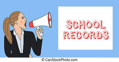 資訊, 大約, box., records., 短上衣, 事務, loudhailer, 相片, 顯示, 學校, 寫, 筆記, 呼喊, 婦女, 馬尾辮, 孩子, showcasing, kept, 長方形, 傳記