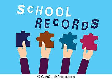 資訊, 學校, records., 正文, 顯示, 大約, 簽署, 傳記, 孩子, 概念性, kept, 相片