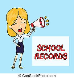 資訊, backgdrop, box., records., 學校, 事務, blowhorn, 相片, 顯示, 孩子, 年輕, 寫, 筆記, kept, 婦女, 講話, 正文, showcasing, 大約, 傳記, 上色