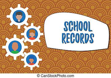 資訊, gearshaped, records., 事務, 家庭圖片, 照片框架, photo., 大約, 寫, 筆記, 學校, 裝飾品, 孩子, showcasing, kept, 整體, 顯示, 傳記