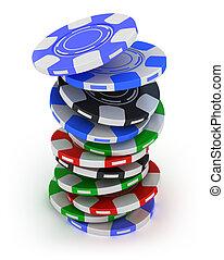 賭博, 扑克片, 堆