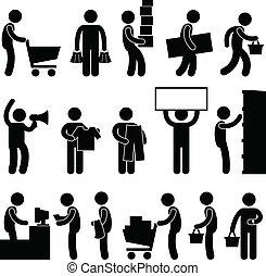 購物, 人們, 銷售, 車, 長隊, 人