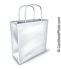 購物, 看法, 袋子, 頂部, 空白, 白色