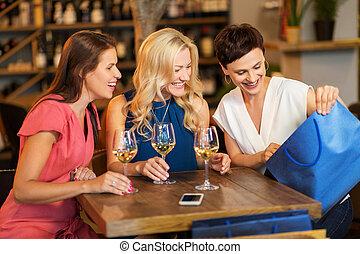 購物, 餐館, 袋子, 酒吧, 酒, 或者, 婦女