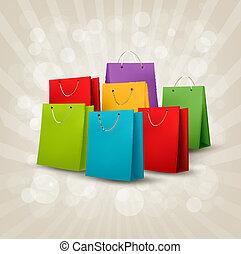購物, illustration., 鮮艷, concept., 折扣, 矢量, 背景, bags.