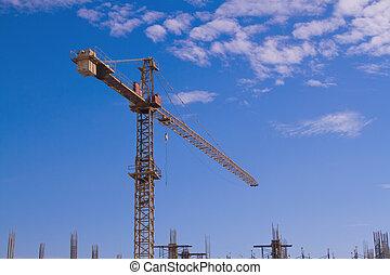 起重機, 建設, 天空, 站點, 背景
