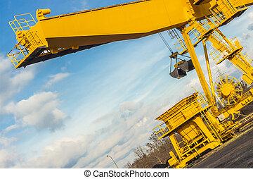 起重機, 桶架, -, poland., 黃色