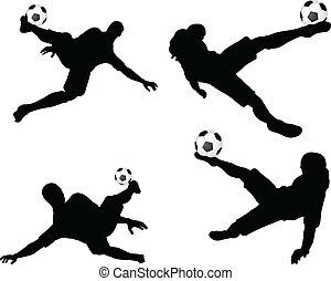 足球, 空氣, 表演者, 黑色半面畫像, 位置, 擺在