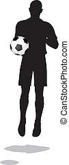 足球, 跳躍, 表演者, 黑色半面畫像, 位置, 擺在