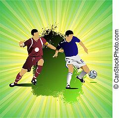 足球, grunge, 上色, banner., 插圖, 矢量, 設計者