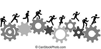 跑, 人們, 工業, 比賽, 齒輪, 符號