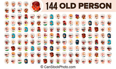 跨國公司, 集合, 老人, 漸老的男性, female., 亞洲人, ethnic., vector., 歐洲, 套間, 插圖, portrait., 用戶, arab., 多, 臉, 人, african, avatar, icon., racial., emotions.