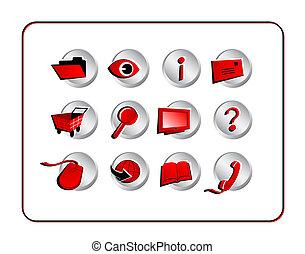 路徑, 剪, 集合, -, 紅色, 圖象