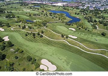 路線, 看法, 高爾夫球, 空中