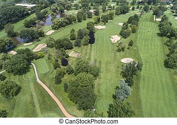 路線, 空中, 高爾夫球, 看法