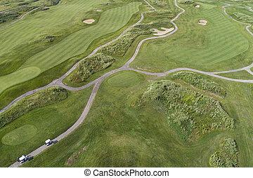 路線, 連結, 高爾夫球, 空中