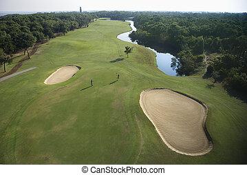 路線, 高爾夫球, aerial.
