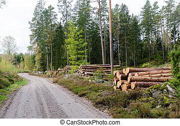 路邊, 木材, 國家, 堆