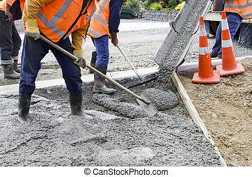 路, 工作, 混凝土, -