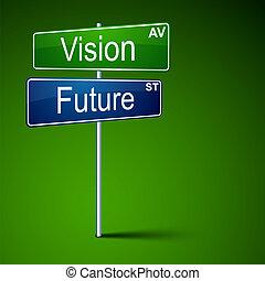 路, 視覺, 徵候。, 方向, 未來