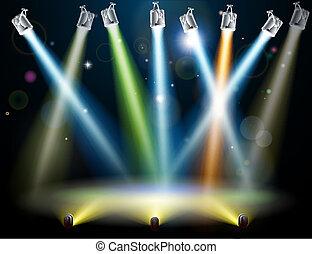 跳舞, 光, 地板, 或者, 階段