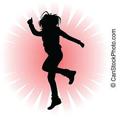 跳躍, 黑色, 黑色半面畫像, 人