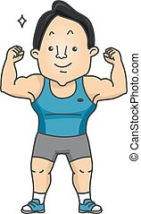 身體, 屈曲, 肌肉, 适合, 人