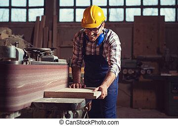 車間, 工作, 他的, 木匠, 木工工作