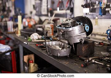 車間, 桌子, 引擎, 拆卸, 摩托車