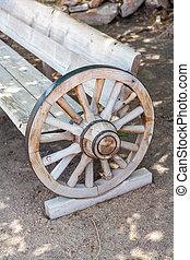 車, 古董, 長凳, 做, 輪子