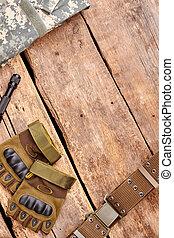 軍事, copyspace., 木頭, 設備